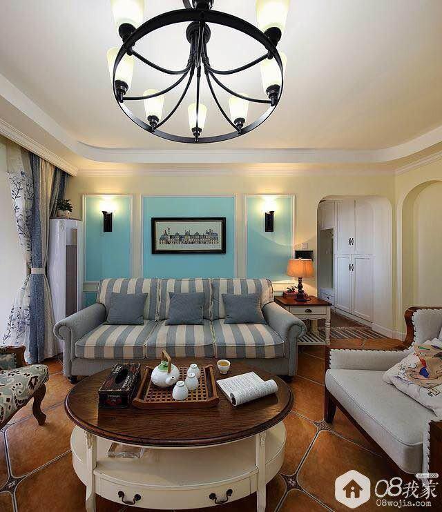 长沙芒果天地美式四房蔚蓝设计实景装修效果图