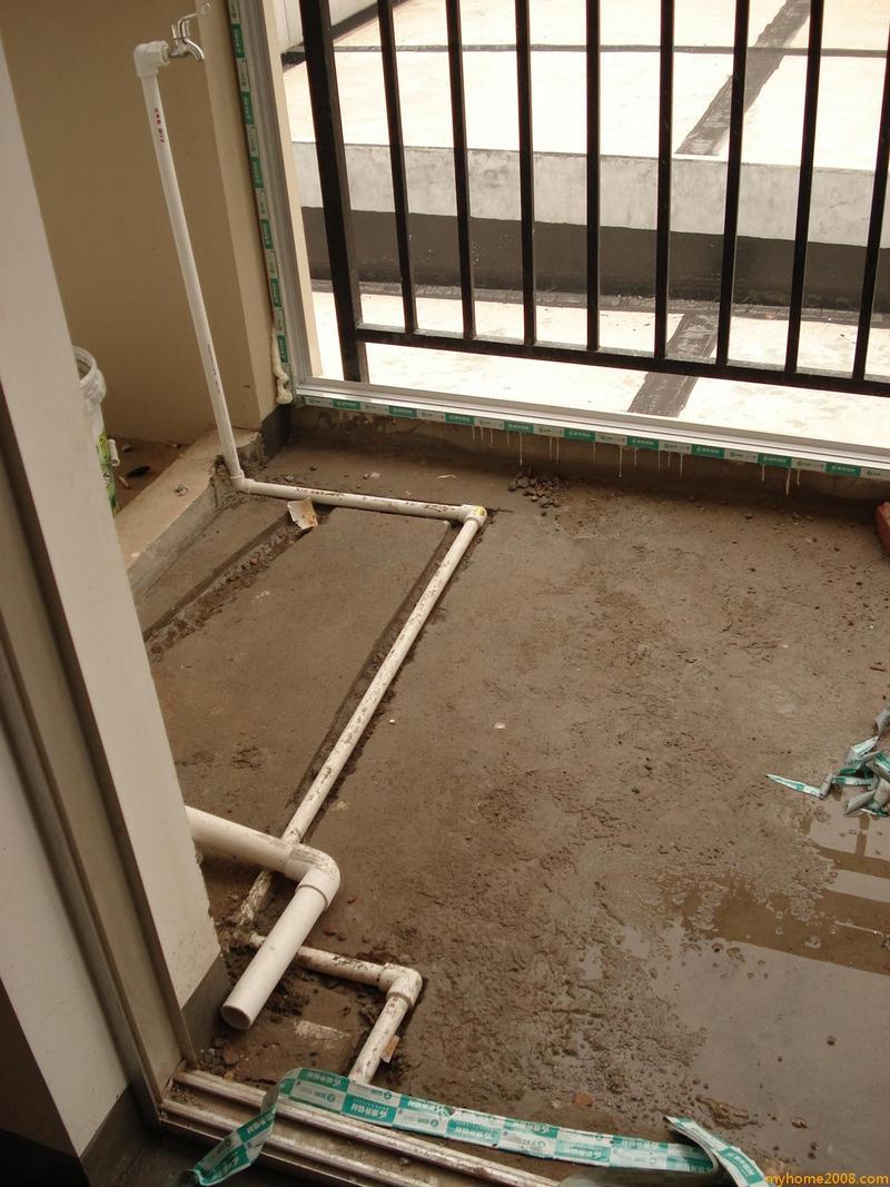 生活阳台走水管,拖把池和洗衣机位置