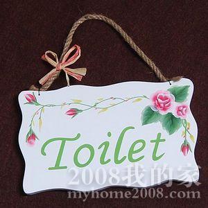 79,田园风格纯手绘玫瑰门牌 卫生间挂牌-toilet 团购价:14元/个